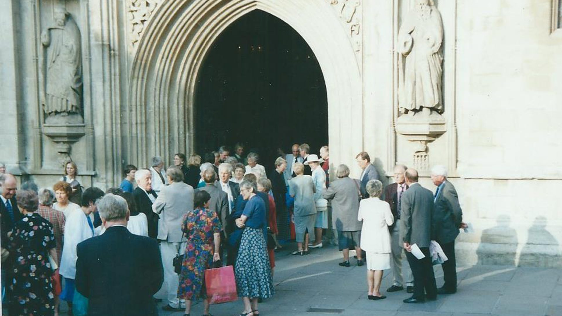 Group of people outside the Abbey