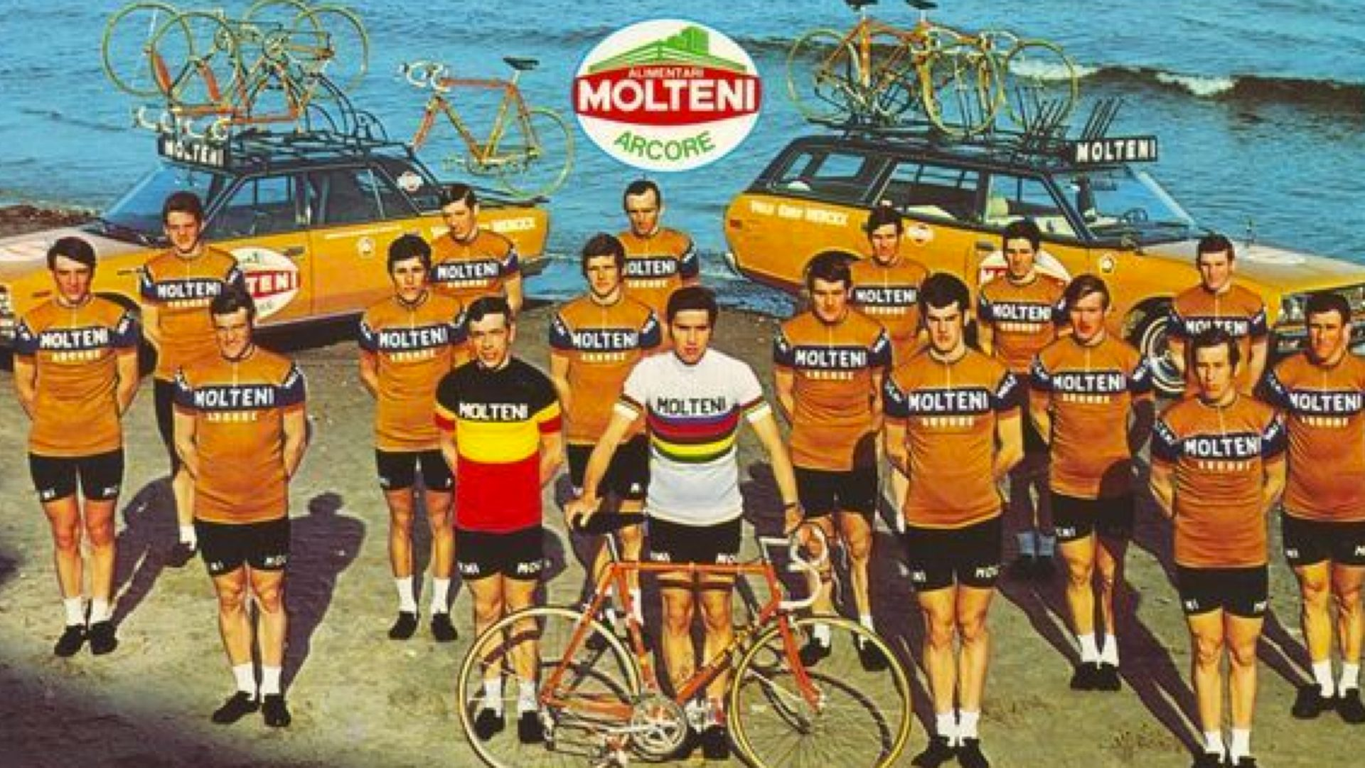 Group of cyclists wearing vintage Molteni shirts