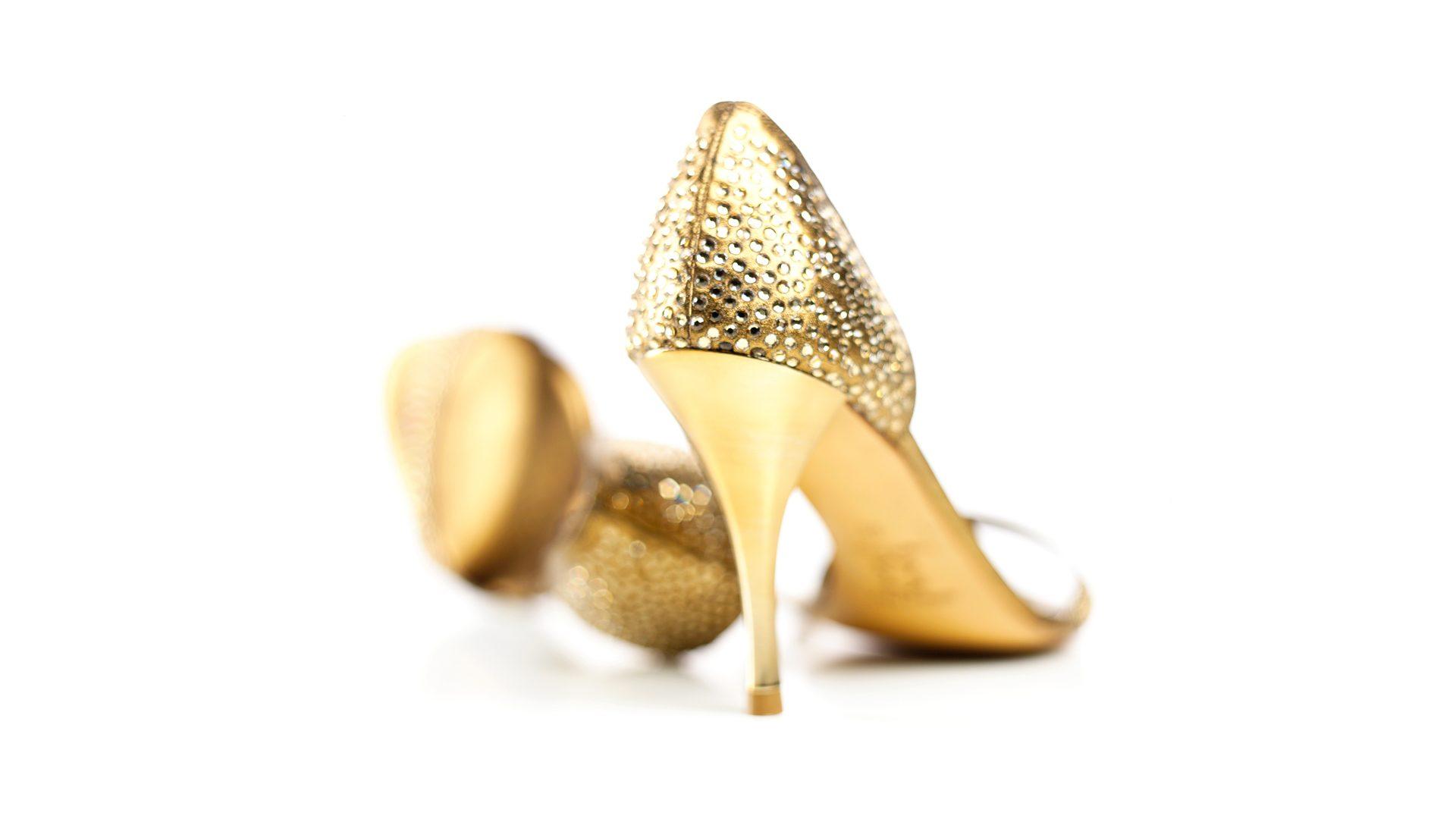 Sparkly gold stilettos