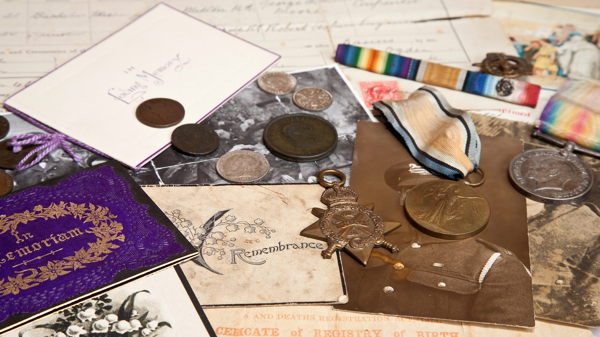 Military medals and documents